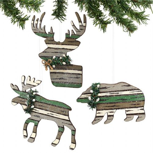 Winter's Lodge Cut Out Animal Ornaments Set of 3